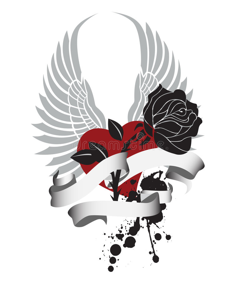 Free Heart And Rose Banner Design Stock Image - 4023501