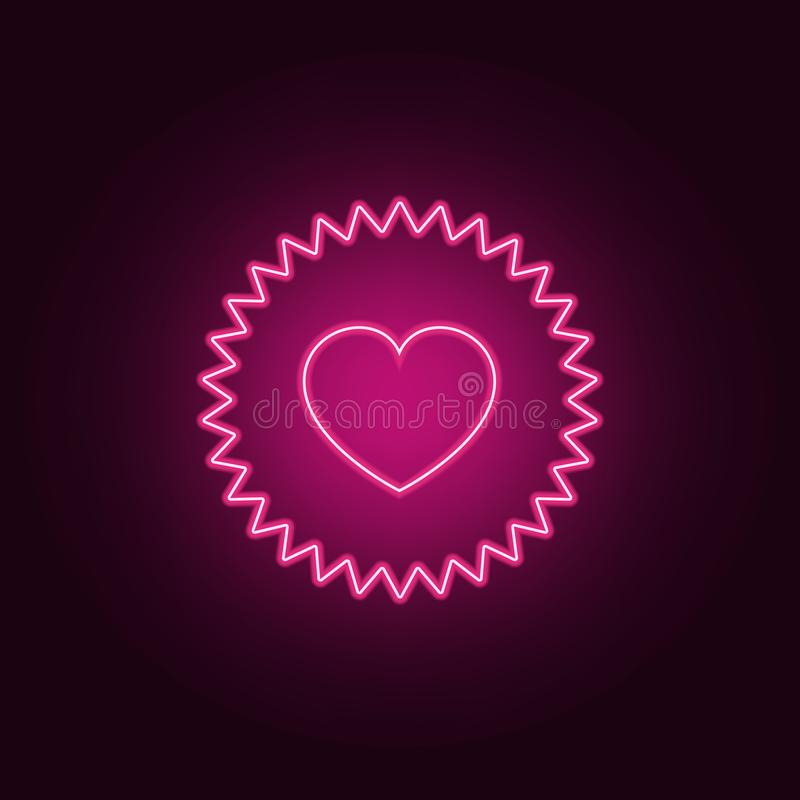 Heart appeal icon. Elements of Valentine in neon style icons. Simple icon for websites, web design, mobile app, info graphics. On dark gradient background royalty free illustration