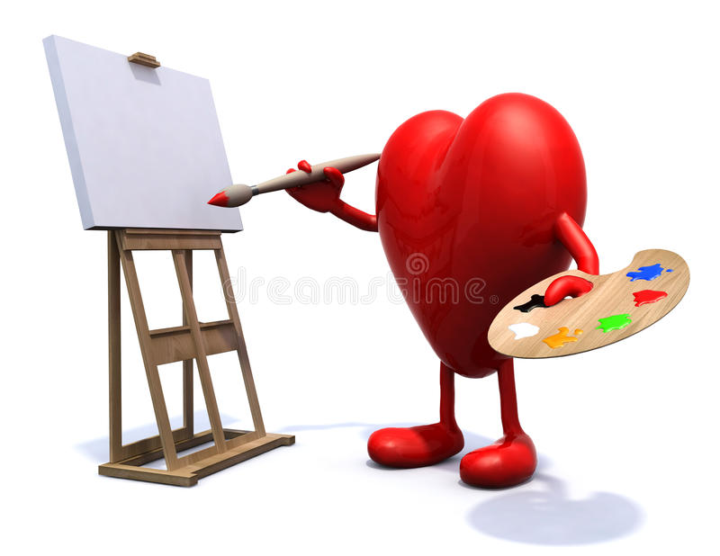 Download Heart With Arms And Legs Painter Stock Illustration - Illustration of drawing, canvas: 34110459