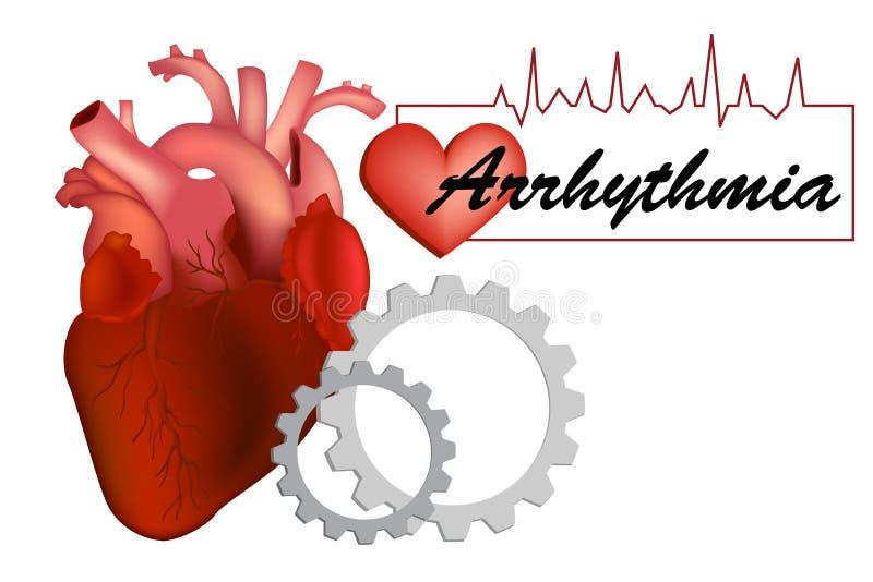 Heart arrhythmia or irregular heartbea stock illustration