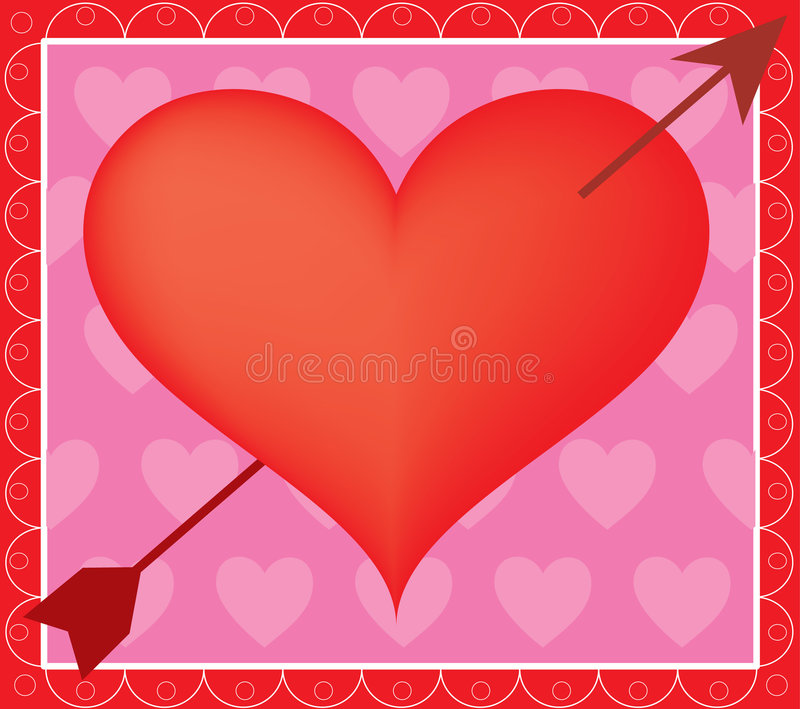 Heart and Arrow. Big red heart with arrow on a pink background stock illustration