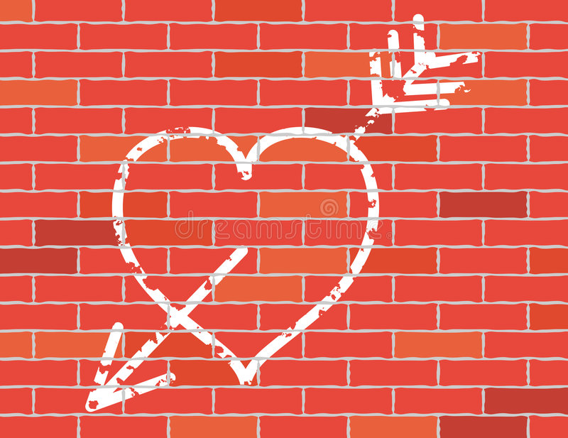 Download Heart And Arrow On Brick Wall. Stock Vector - Illustration: 4838867