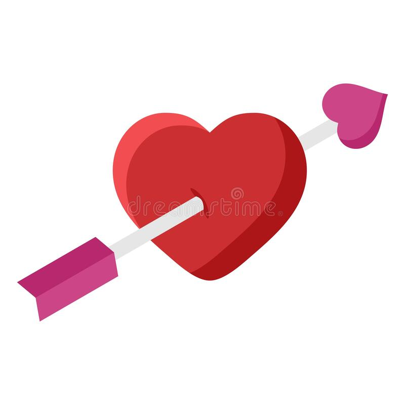 Heart with Arrow flat icon isolated on white background. Amour Symbol valentines day and romantic, love sign. Vector. Illustration stock illustration
