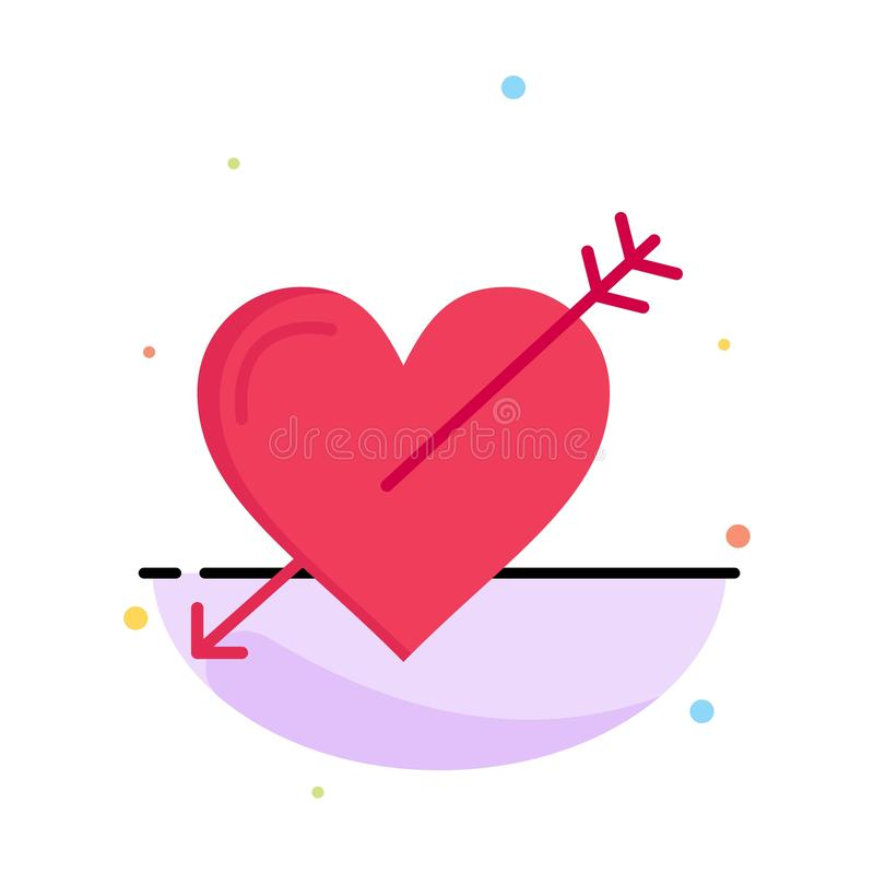 Heart, Arrow, Holidays, Love, Valentine Abstract Flat Color Icon Template vector illustration