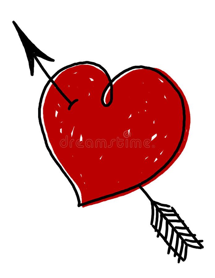 Download Heart With Arrow Illustration Stock Illustration - Illustration of illustration, freehand: 12231270