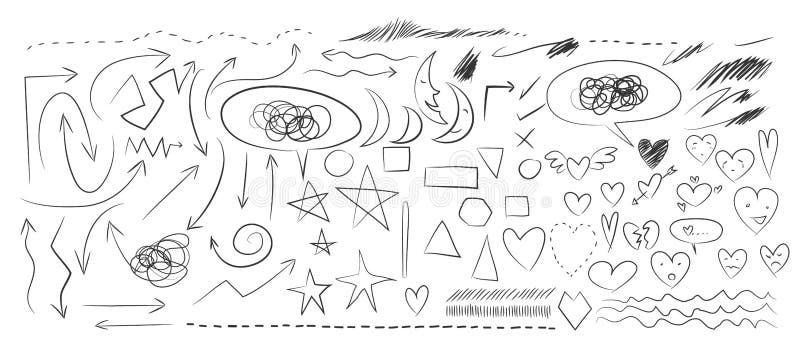 Heart, arrow, moon Hand drawn elements vector set illustration stock illustration