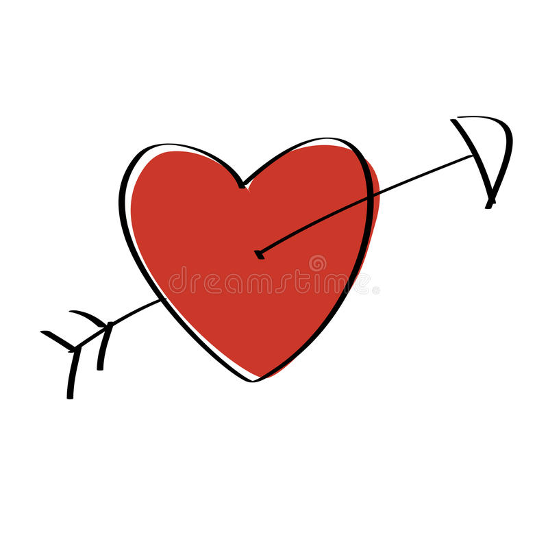 Heart Arrow stock illustration