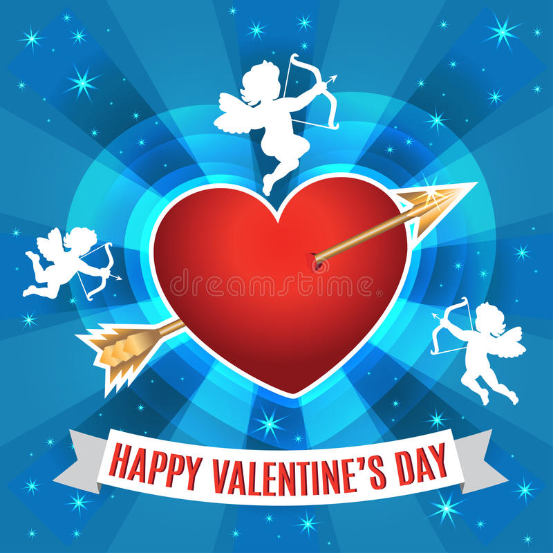 Heart with arrow and silhouette of a cupids for Valentines day. royalty free illustration