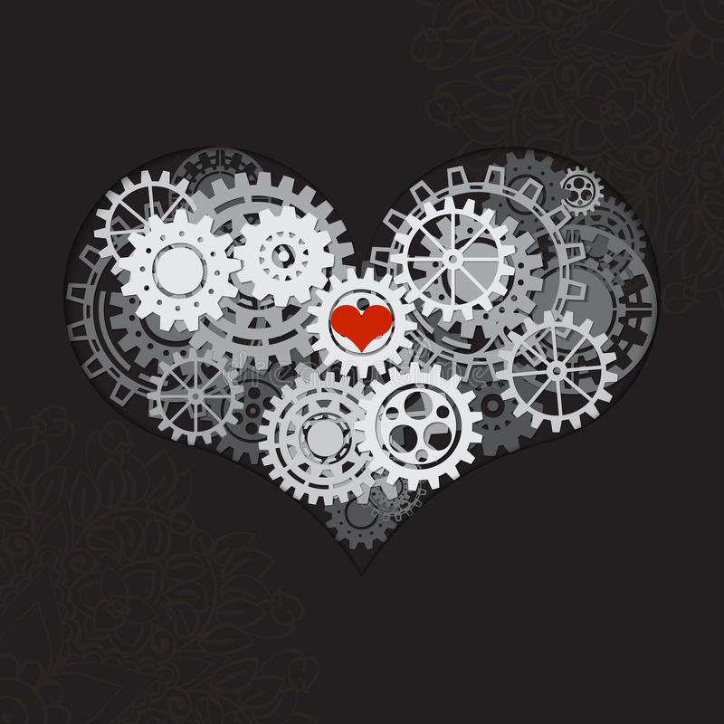 Heart as a mechanism made of cogs and gears. Vector Illustration of steampunk heart. Valentines day card stock illustration