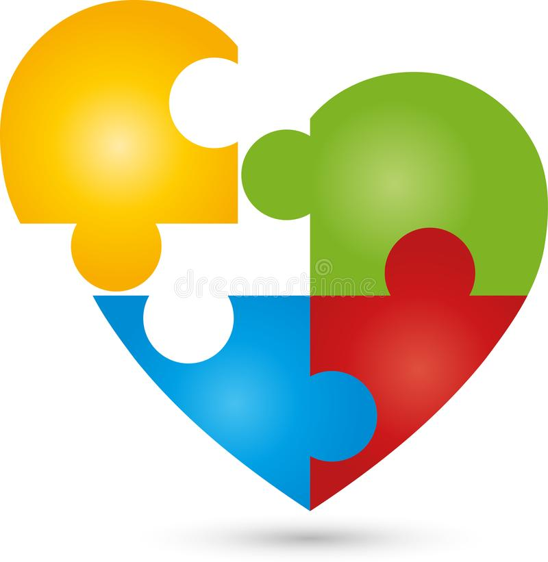 Heart as a puzzle, heart and helper logo. Heart and two hands, heart and helper logo, people logo, care and helper logo vector illustration