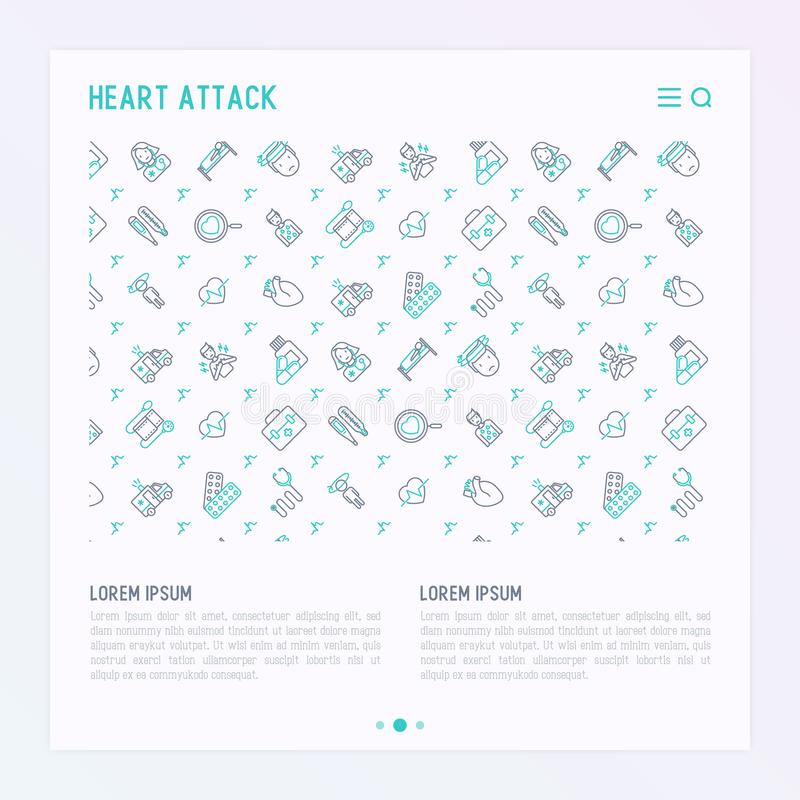 Heart attack concept with thin line icons. Of symptoms and treatments. Modern vector illustration for medical report or survey, banner, web page, print media royalty free illustration