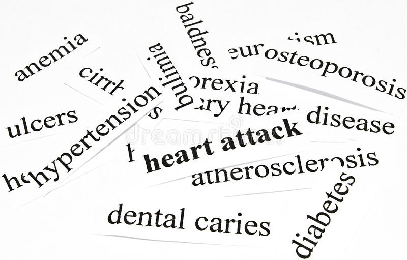 Heart attack. Health care concept of diseases caused by unhealthy nutrition. Health care concept of diseases caused by unhealthy nutrition royalty free stock photography