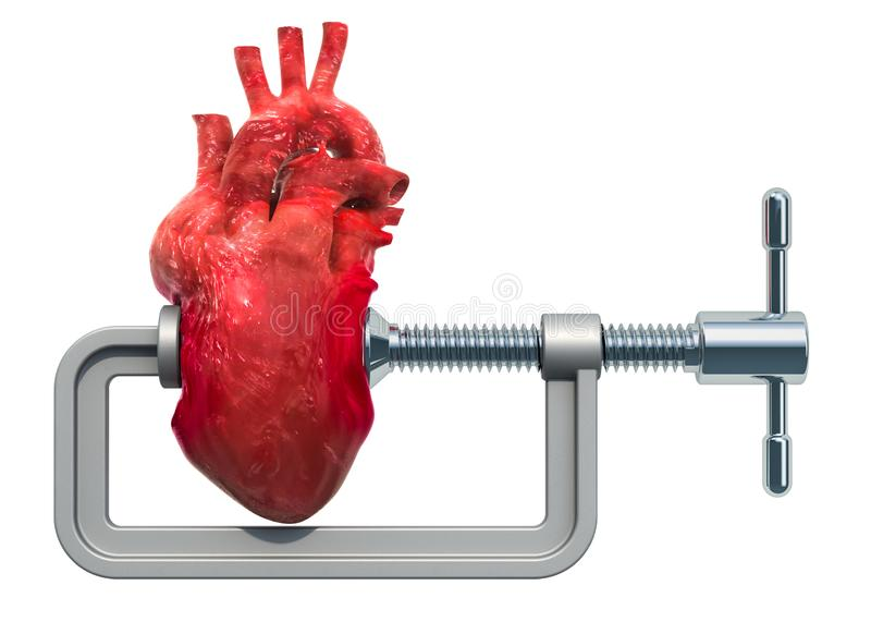 Heart attack, heart disease concept. Vise with human heart. 3D rendering stock illustration