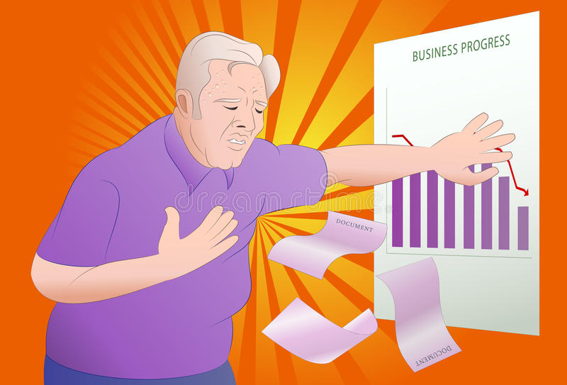 Heart attack. Illustration of a senior businessman got heart attack seeing his business progress on office