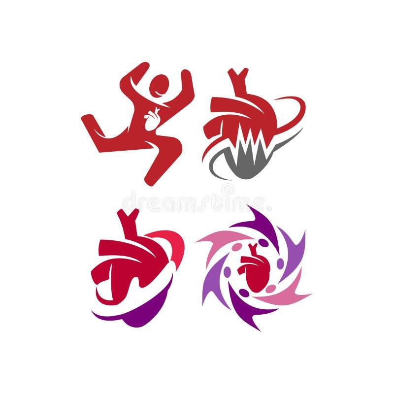 Heart attack risk vector logo icon design Illustration vector illustration