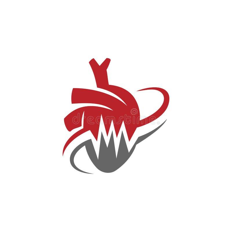 Heart attack risk vector logo icon design Illustration stock illustration