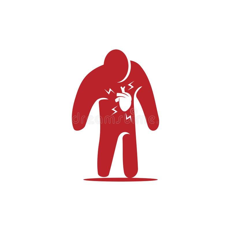 Heart attack risk vector logo icon design Illustration. Heart attack risk vector logo icon design vector illustration