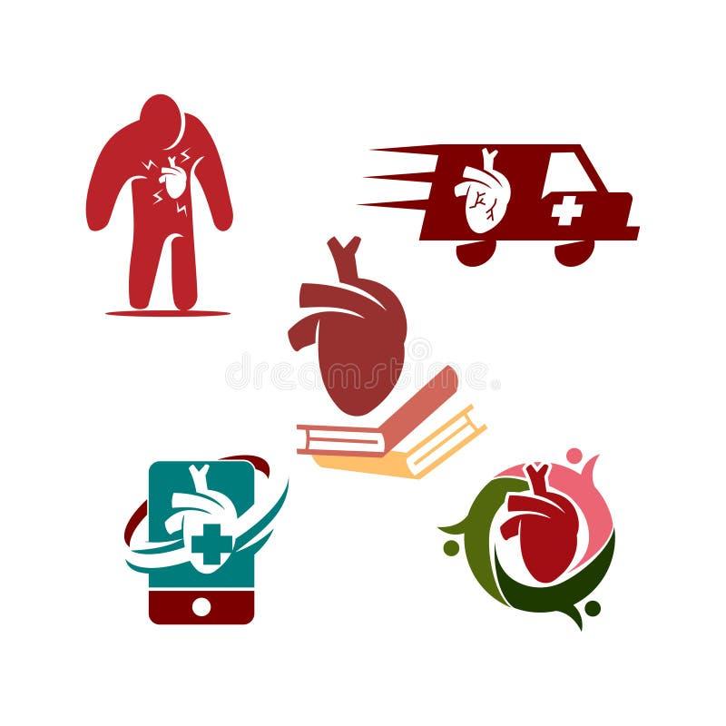 Heart attack risk vector logo icon design Illustration. Heart attack risk vector logo icon design royalty free illustration
