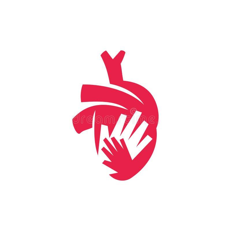 Heart attack risk vector logo icon design Illustration. Heart attack risk vector logo icon design stock illustration