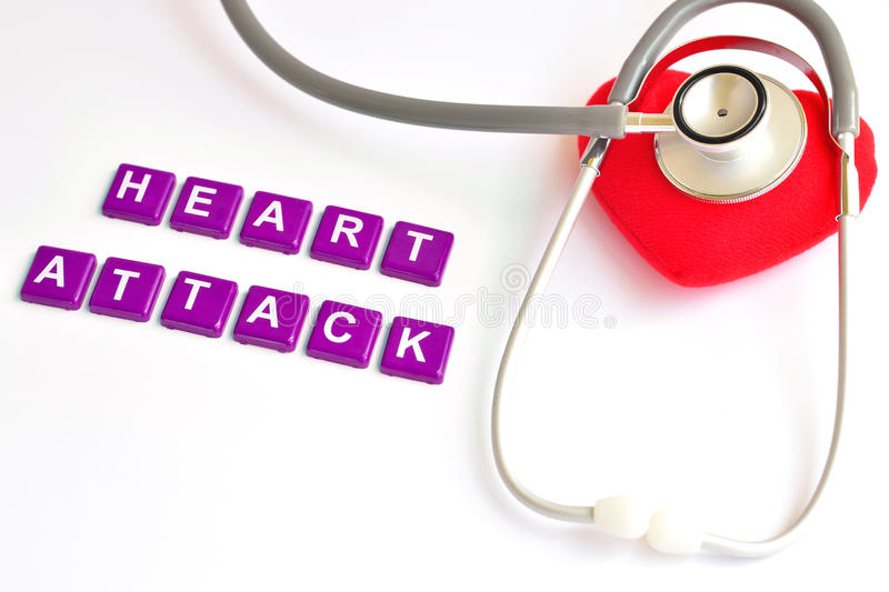 Heart attack. Heart with stethoscope, Heart healthy concept royalty free stock image