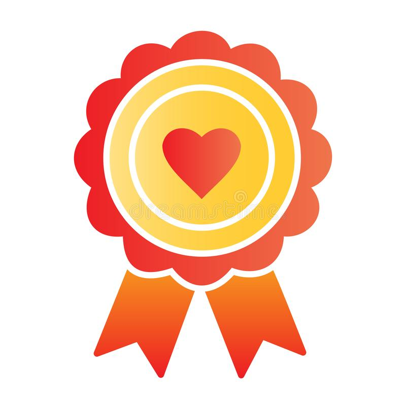 Free Heart Award Flat Icon. Medal With Heart Color Icons In Trendy Flat Style. Surprise Package Gradient Style Design Royalty Free Stock Photo - 165992445