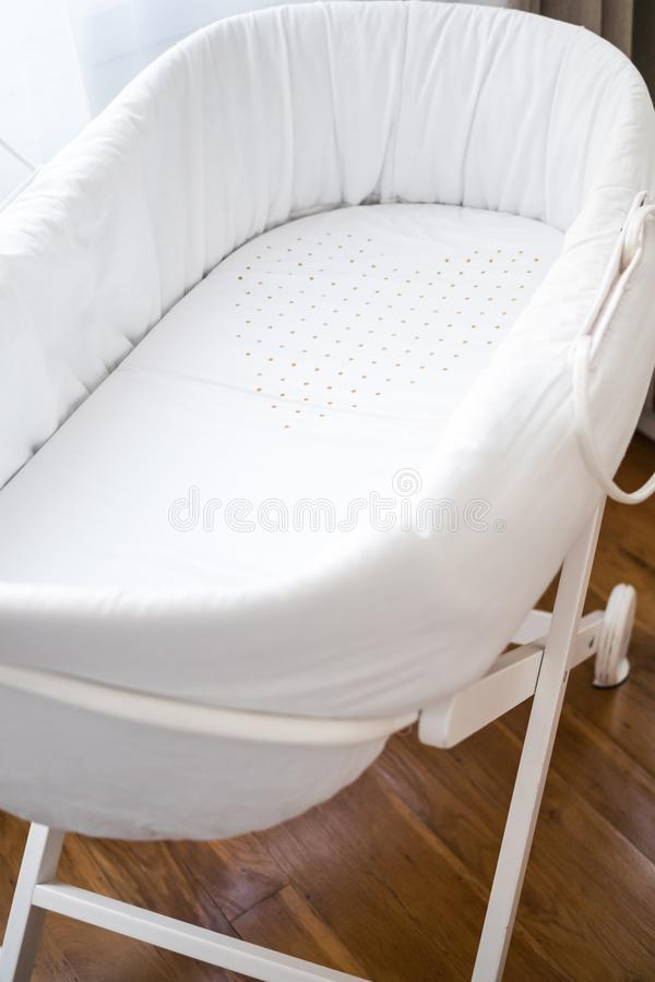 Heart on a baby bassinet. Cute heart on a lovely baby bassinet royalty free stock images