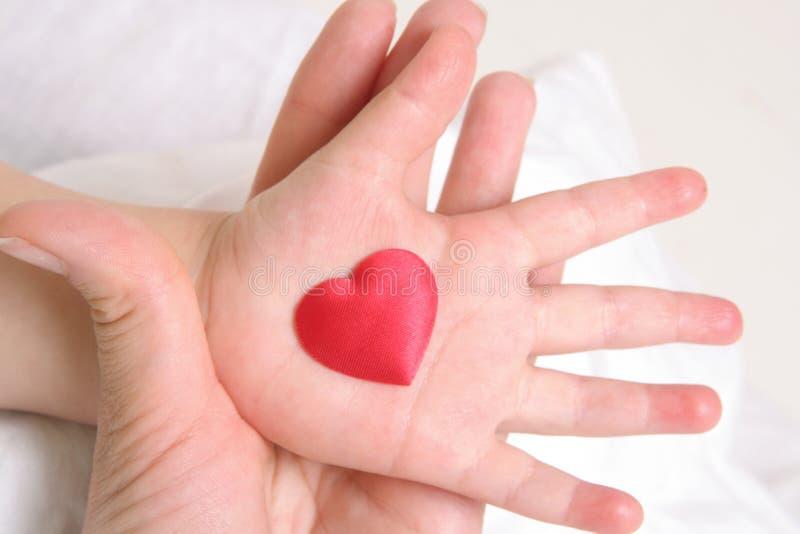Heart In Baby`s Hand Stock Photos