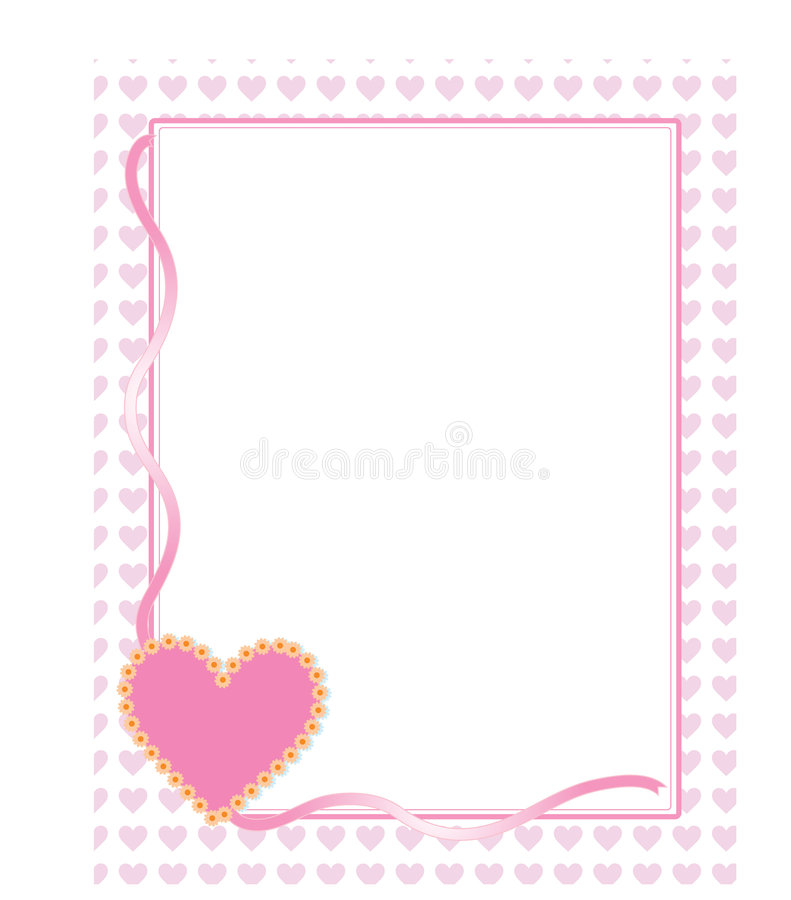 Heart Background. With pink ribbon and flowers royalty free illustration