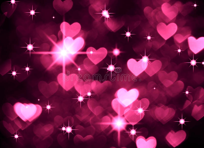 Heart background boke photo, dark magenta color. Abstract holiday, celebration and valentine backdrop. stock illustration