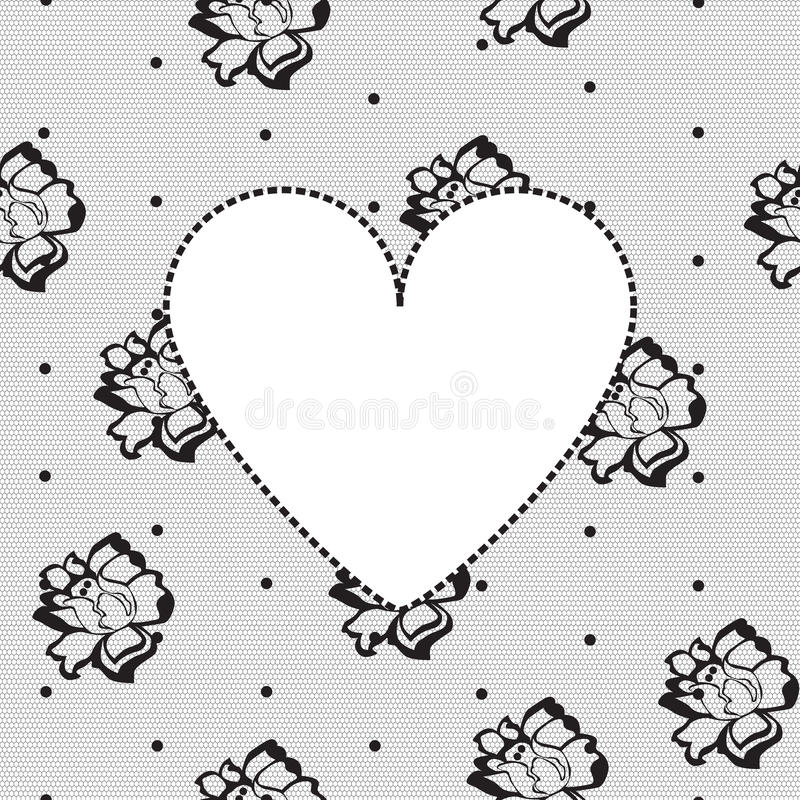 Download Heart On A Background Of Floral Lace Stock Vector - Image: 24894970