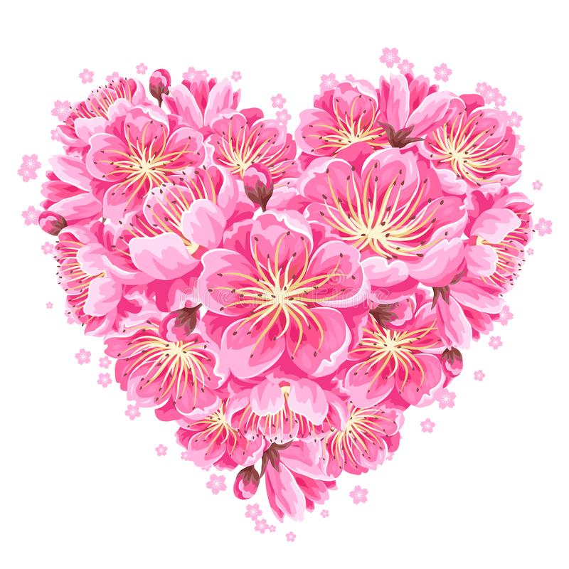 Heart background with sakura or cherry blossom. Floral japanese ornament of blooming flowers royalty free illustration