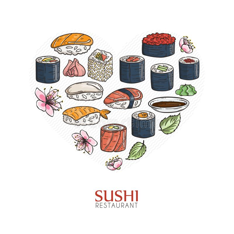 Heart background with sushi and rolls. Japanese traditional cuisine illustration. Vector with love vector illustration