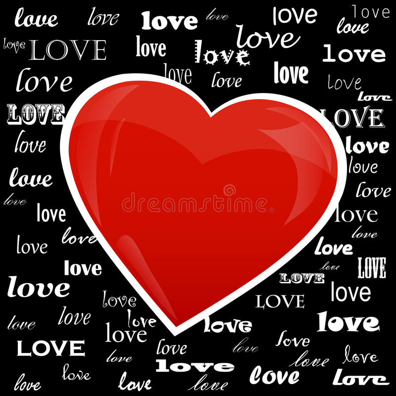 Heart on the background of the word love. Written in different fonts stock illustration