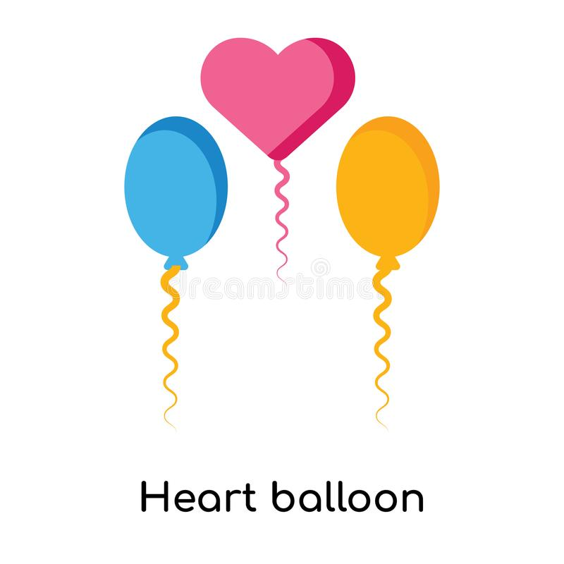Heart Balloon Icon Vector Sign And Symbol Isolated On White Back