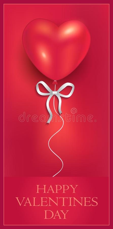 Heart balloon with ribbon, congratulations gift, greeting card, Happy Valentines Day vector illustration