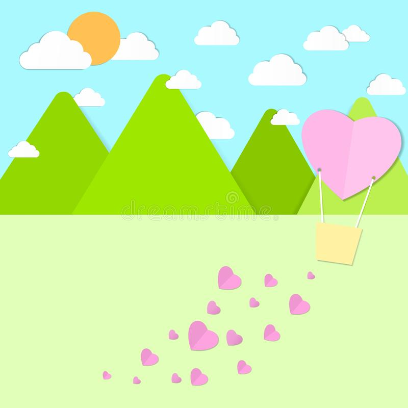 Heart balloon scatters the heart on a background of mountains, sky, clouds, sunlight, paper patterns. vector illustration