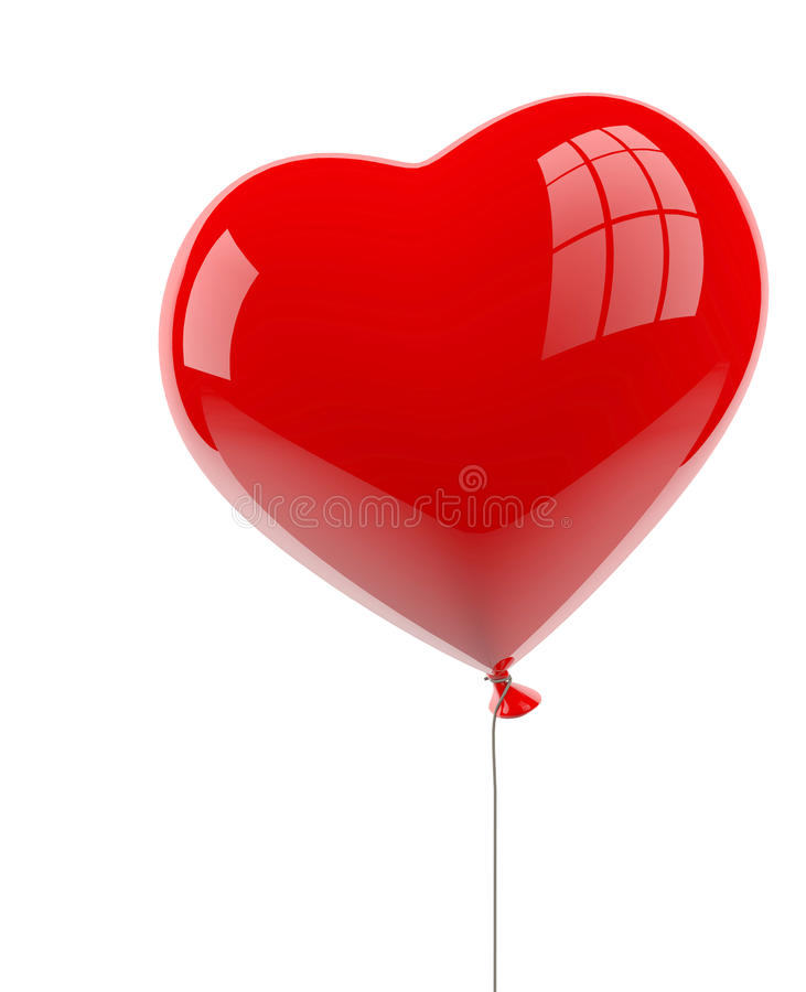 Heart balloon on white. Red heart balloon isolated on white background royalty free illustration