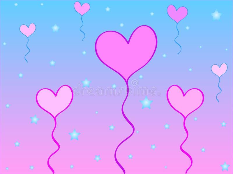 Heart balloons stock illustration
