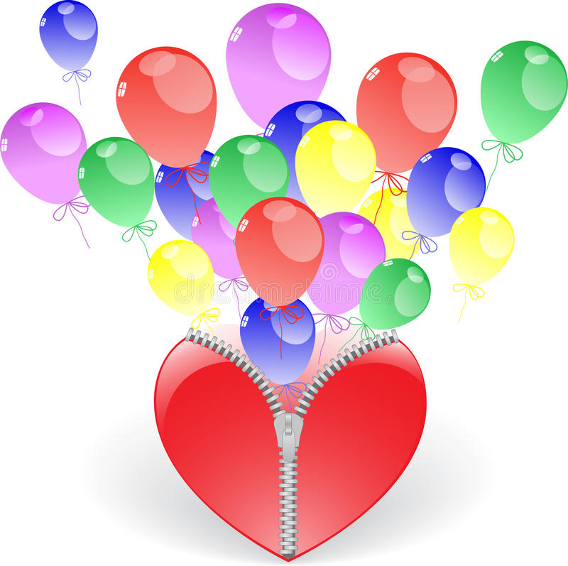 Heart with balloons. Heart on fastener and flying from inside the balloons vector illustration