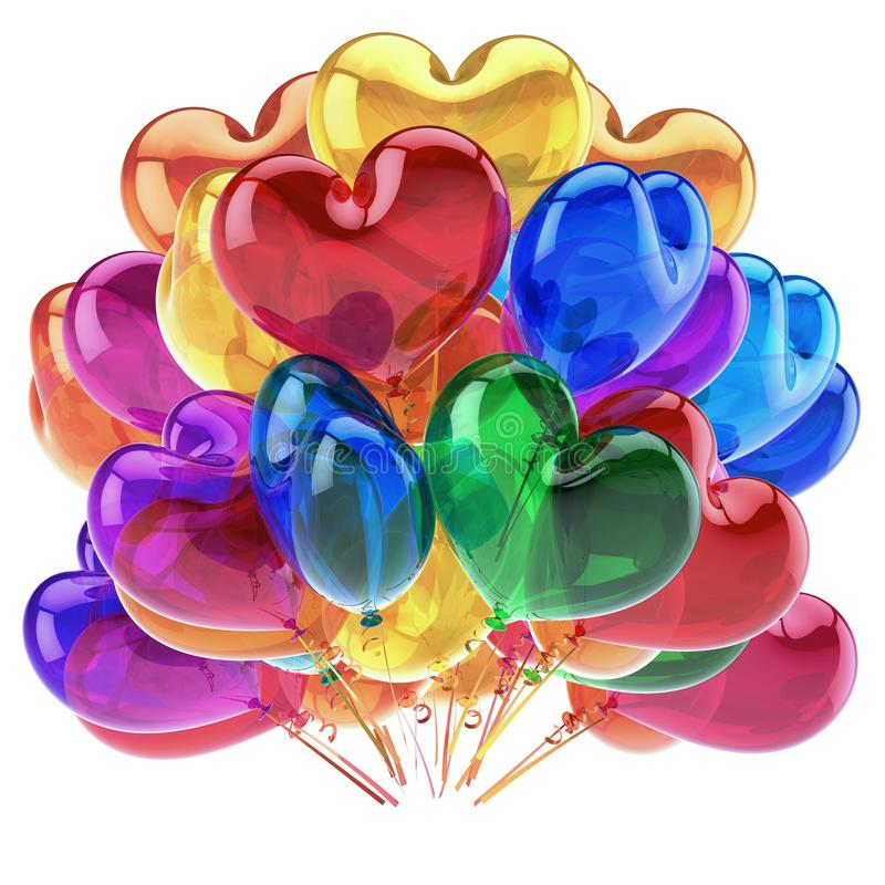 Heart balloons colorful party decor red blue orange green translucent royalty free illustration