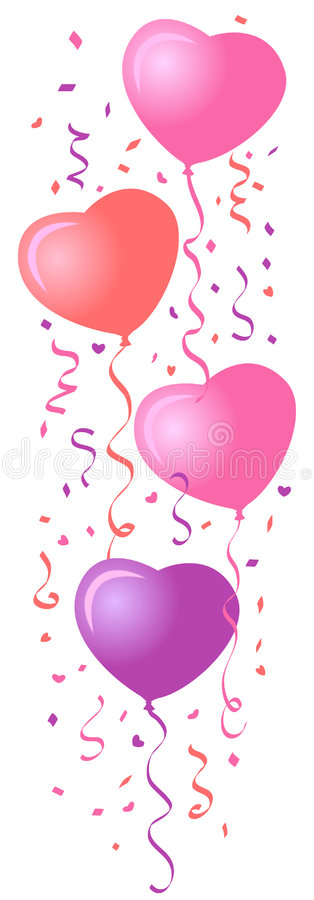 Heart Balloons & Confetti/eps. Illustration of a vertical group of heart-shaped balloons and matching confetti...suitable for valentine, wedding or a celebration stock illustration
