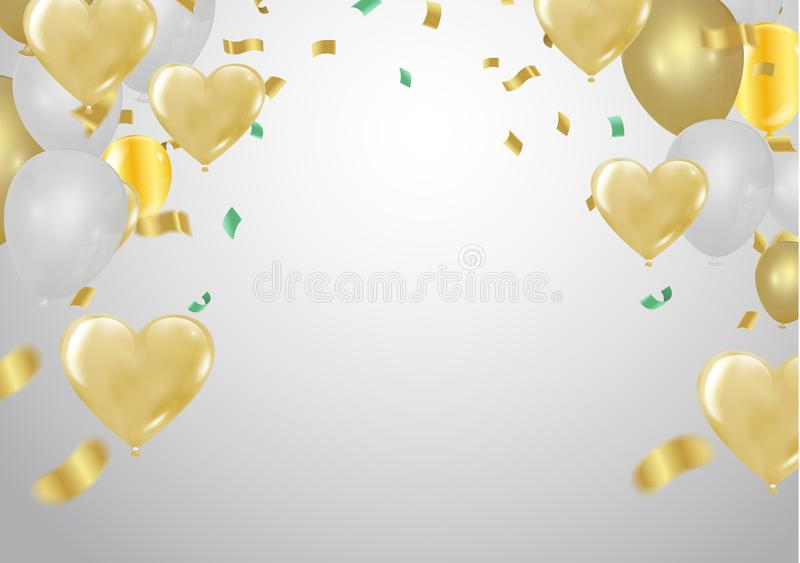 Heart balloons Many Falling Colorful Tiny Confetti And Ribbon Is royalty free illustration