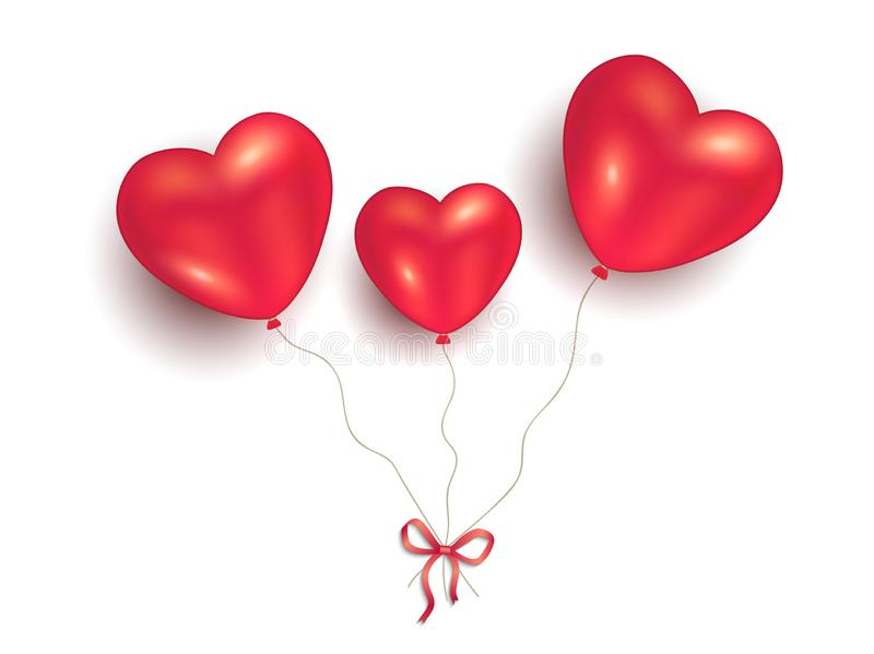 Heart balloons on white background, to happy Valentine`s Day for love royalty free illustration