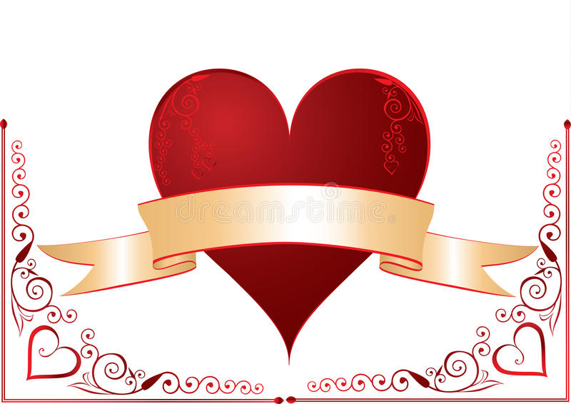 Download Heart with banner stock vector. Illustration of valentine - 12403323