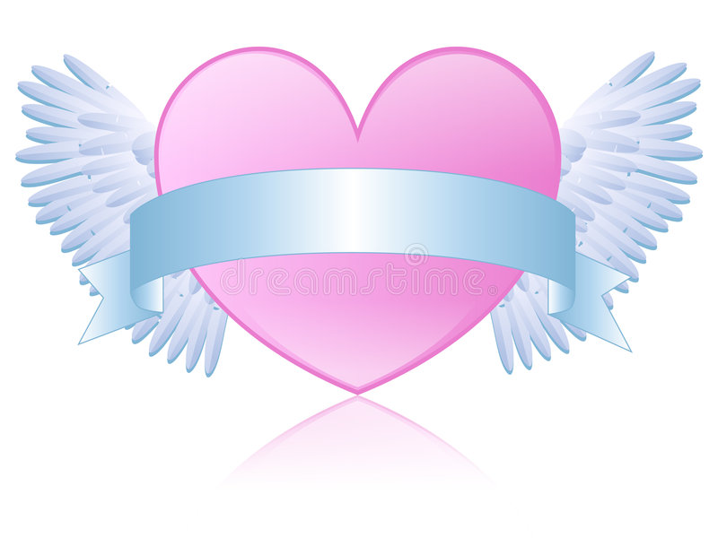 Pink Winged Heart royalty free illustration