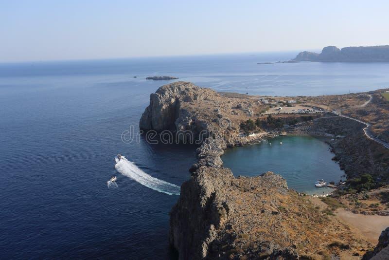Heart bay in Lindos, Rhodes, Greece. Heart bay in Lindos, Rhodes island, Greece stock photos