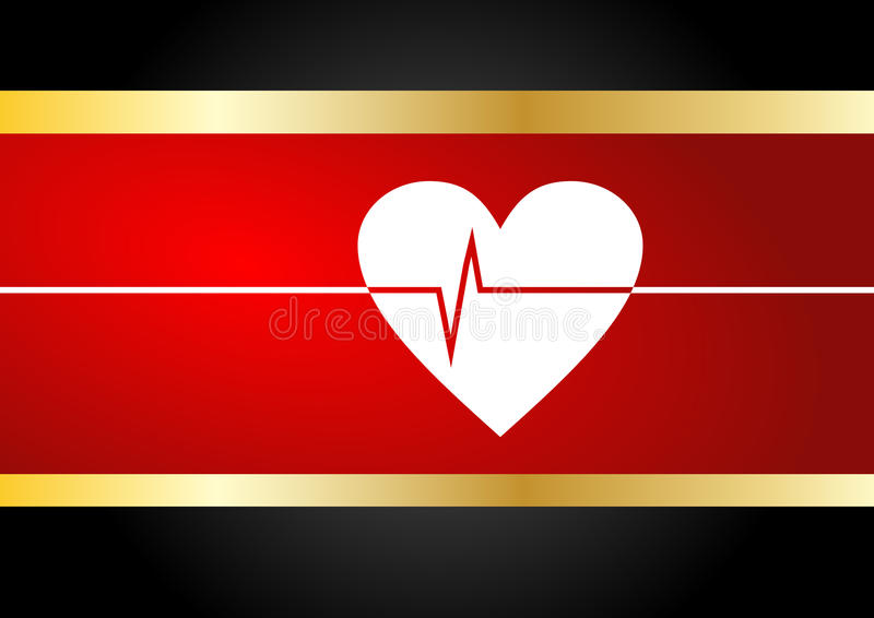 Heart beat. In royal red and gold background stock illustration
