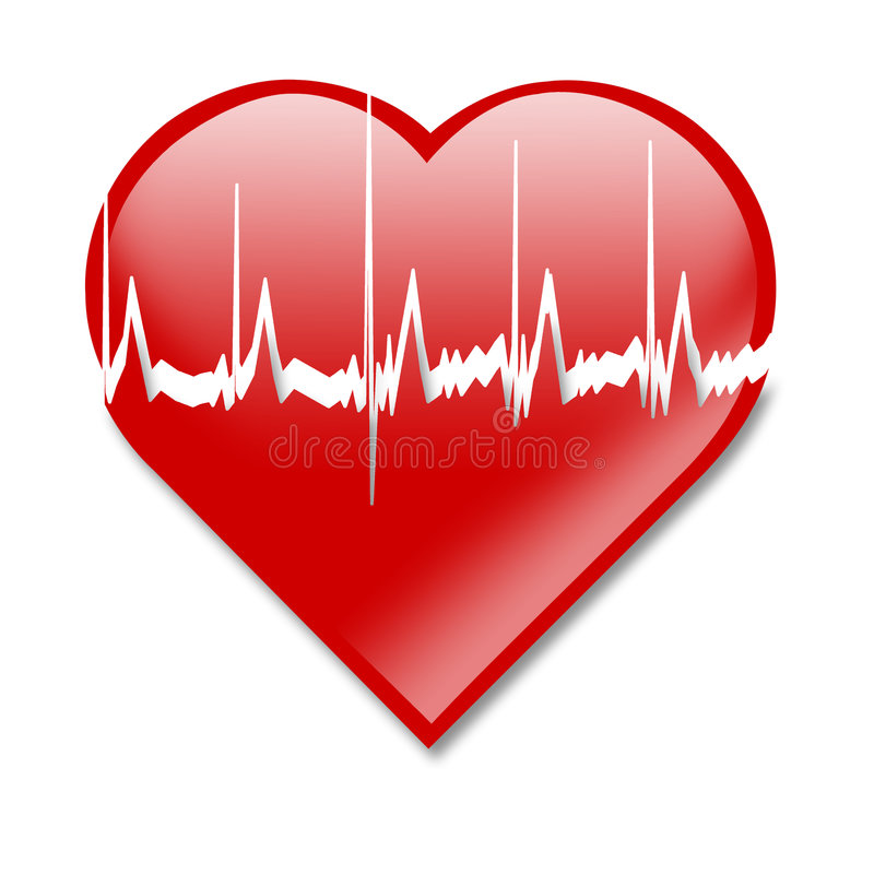 Heart beat. Illustration depicting a graph from a heart beat and a heart