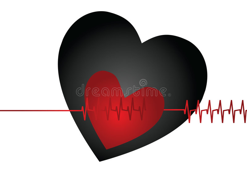 Heart beat. In solid white background royalty free illustration
