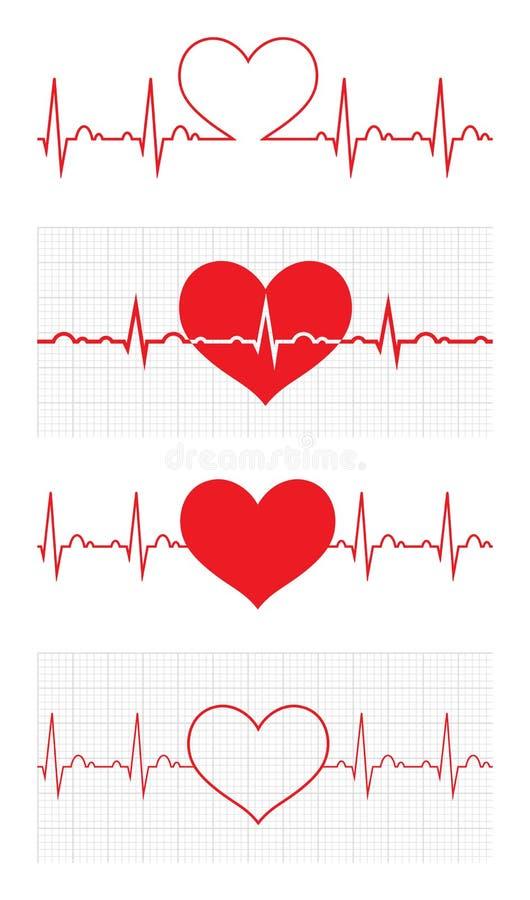 Heart beat. Cardiogram. Cardiac cycle. Medical icon. stock illustration